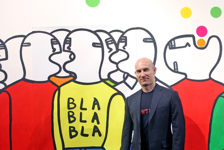 Standing Out: Italian artist Fabrizio Dusi stands among the identical figures he's painted for his work called Bla Bla Bla at the Art:1 New Museum in Jakarta.