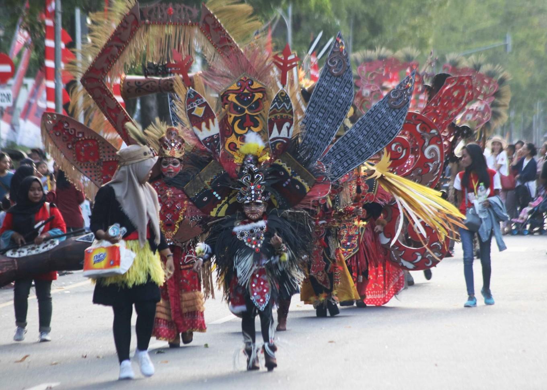 The Solo Batik Carnival on Surakarta's main street, Jl. Slamet Riyadi, in Central Java.