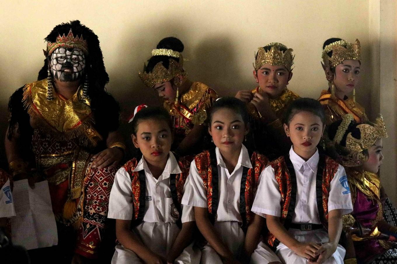 Some children wait for their turn to perform. JP/Maksum Nur Fauzan
