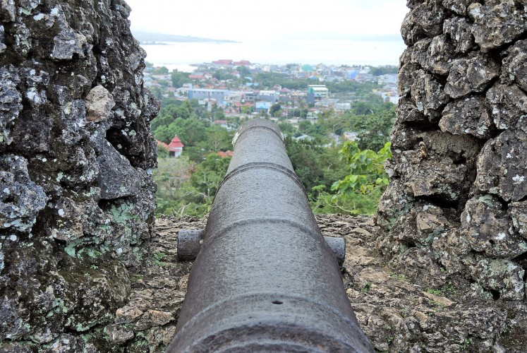 Perfect aim: One of 16 cannons at the Royal Buton Fort in Baubau points toward the sea to repel invaders and pirates of yore.
