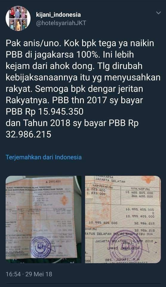 A screenshot of a posting through a twitter account that protest property tax increase for a property in Jagakarta, South Jakarta. The posting had been erased.