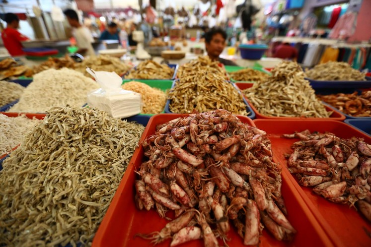 A wide variety of salted fish, shrimp and squid is sold in the market.