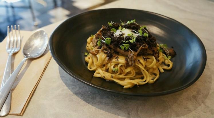 Triple mushroom noodles, a black truffle season special from Devon Cafe Jakarta