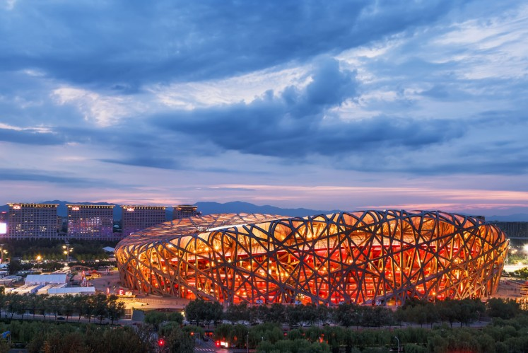 The National Stadium, popularly known as the 'Bird's Nest', was built for the 2008 Summer Olympics.