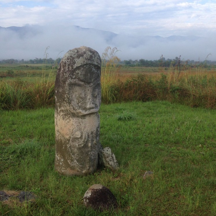 The stone statues found in the valley have thin bodies, big heads, round eyes and lines depicting eyebrows, cheeks and chins.