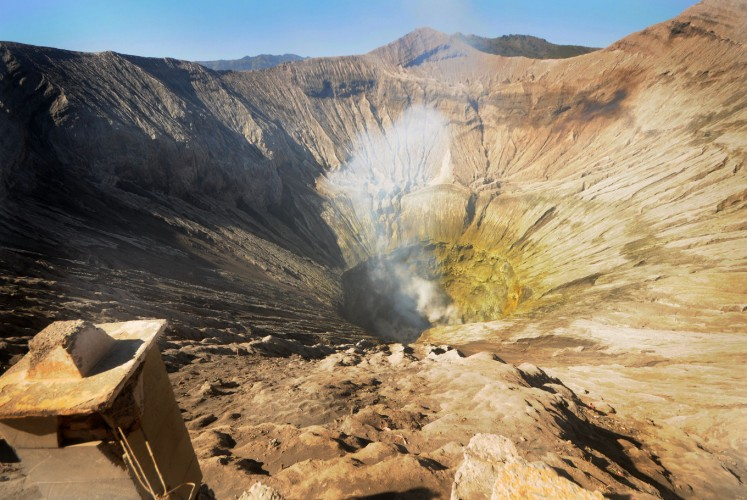 The crater of Mount Bromo that has the diameter of around 800 meters.