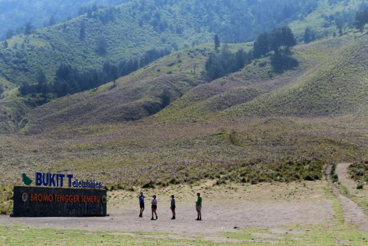 Tourists enjoy the scenery of Teletubbies Hill at Bromo Tengger Semeru National Park (TNBTS).