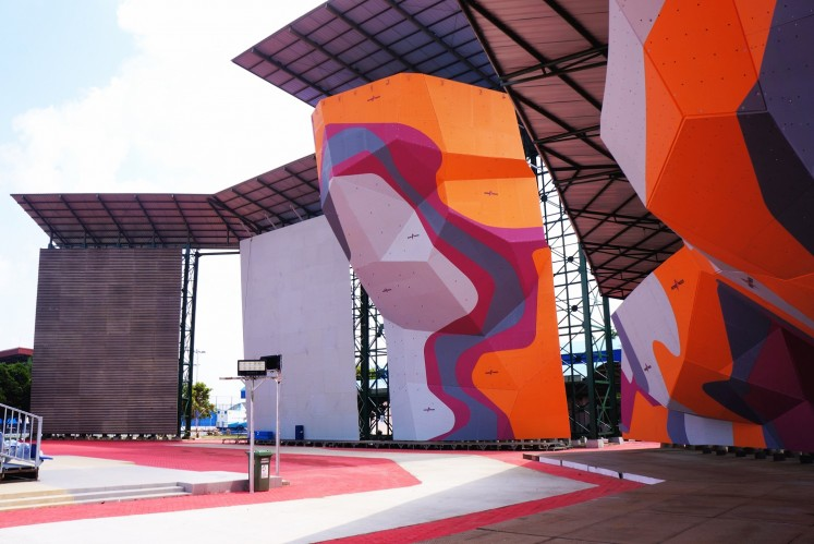 A wall climbing arena in Jakabaring Sport City (JSC), Palembang, South Sumatra.