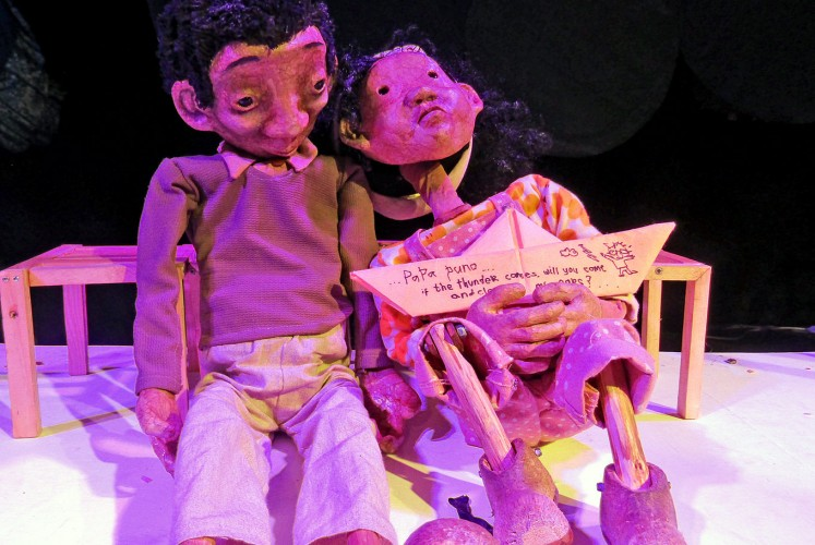 Puno (left) and Tala, two puppets from Papermoon Puppet Theater