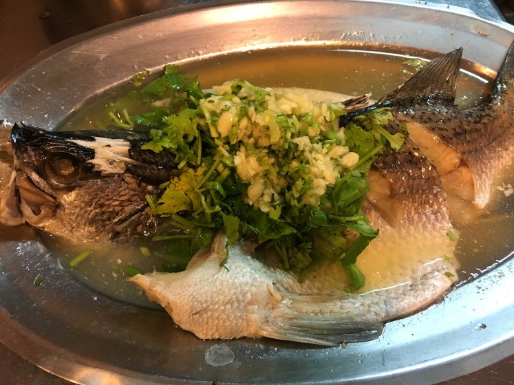Steamed seabass at Yunus Halal Restaurant.