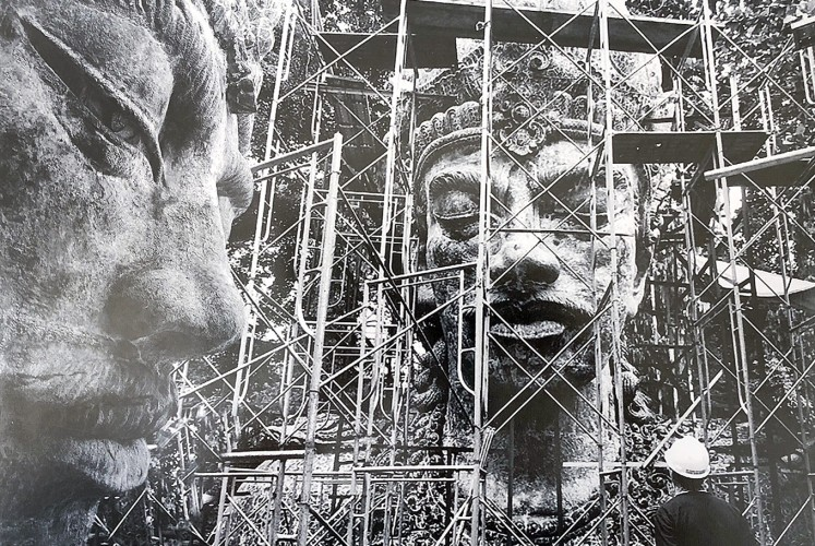 Wisnu: An archive picture shows the statue's face as it was being constructed at an SNN facility in Bandung, West Java.