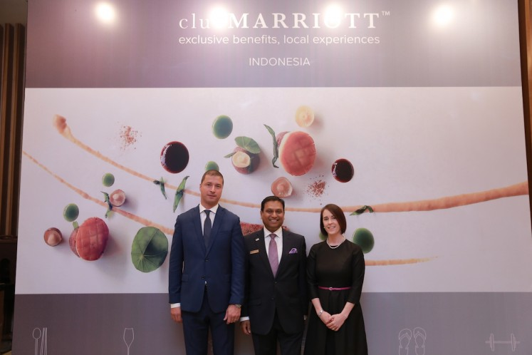 The launch of the new Club Marriott is attended by Marriott International food and beverage operations vice president Petr Raba (left), Westin Jakarta general manager Arun Kumar (center) and area director of operations for Indonesia Marie Browne at The Westin Jakarta on July 31.