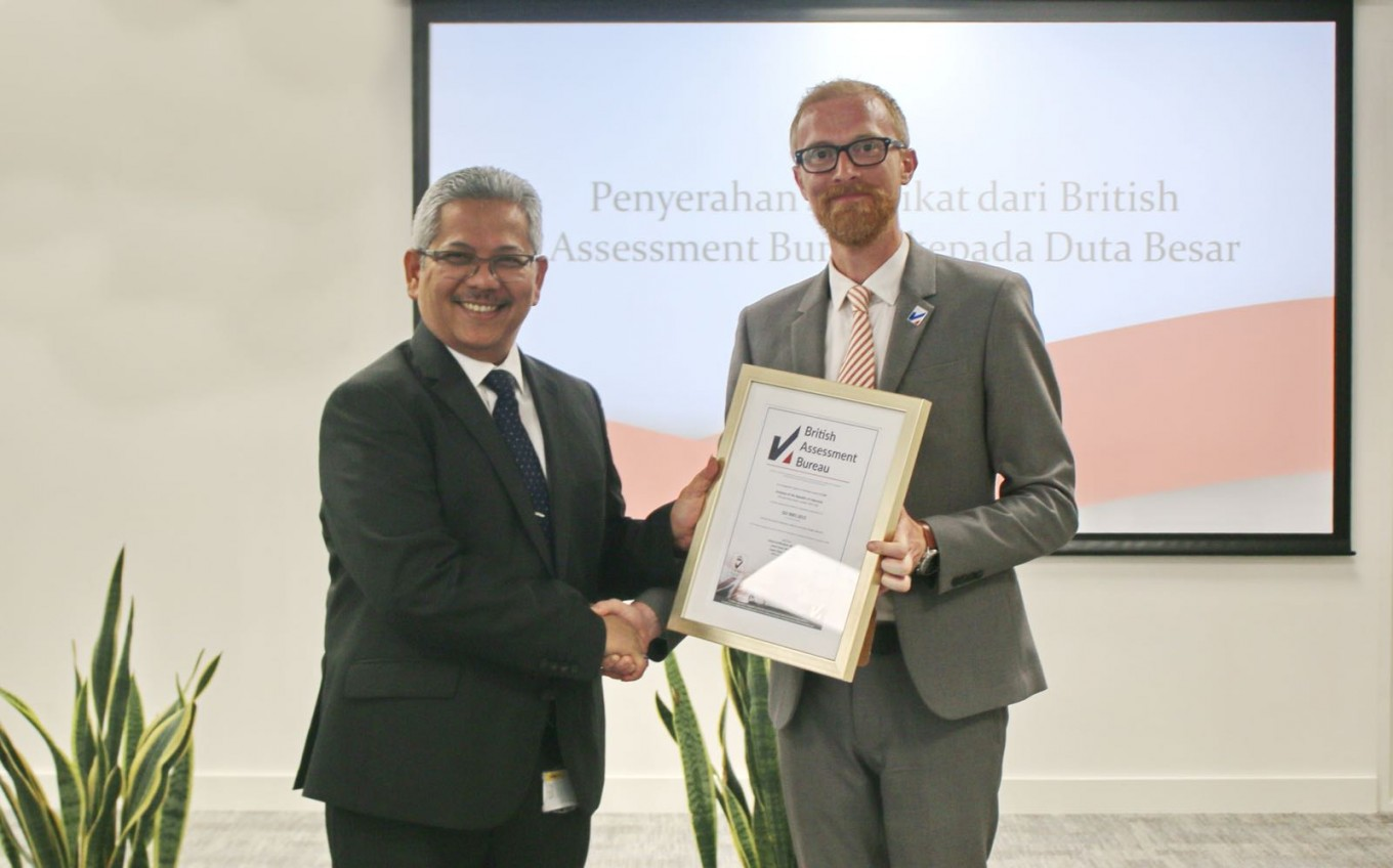 Indonesia's online consular service in London receives ISO certification