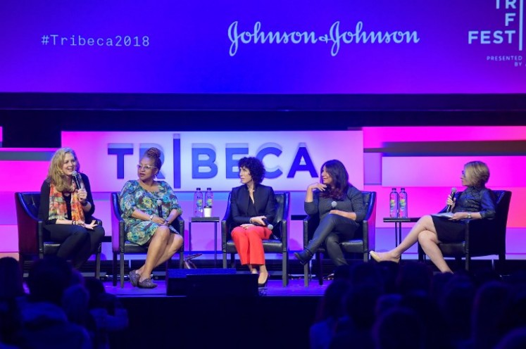 Kimberly Reed, Lisa Cortes, Jennifer Fox, Haifaa al-Mansour and Marie Brenner speak onstage at