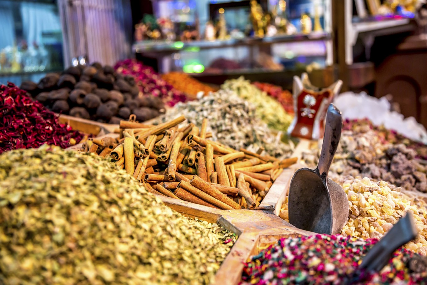 The typical spices at souk shops.