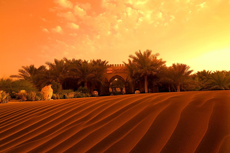 The low-lying Bab Al Shams resort, nestled among the dunes.
