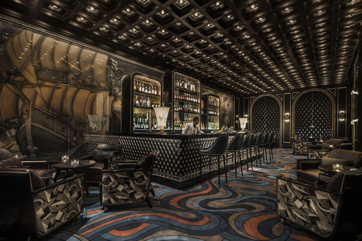The Nautilus Bar at the Four Seasons Jakarta, designed by Alexandra Champalimaud.