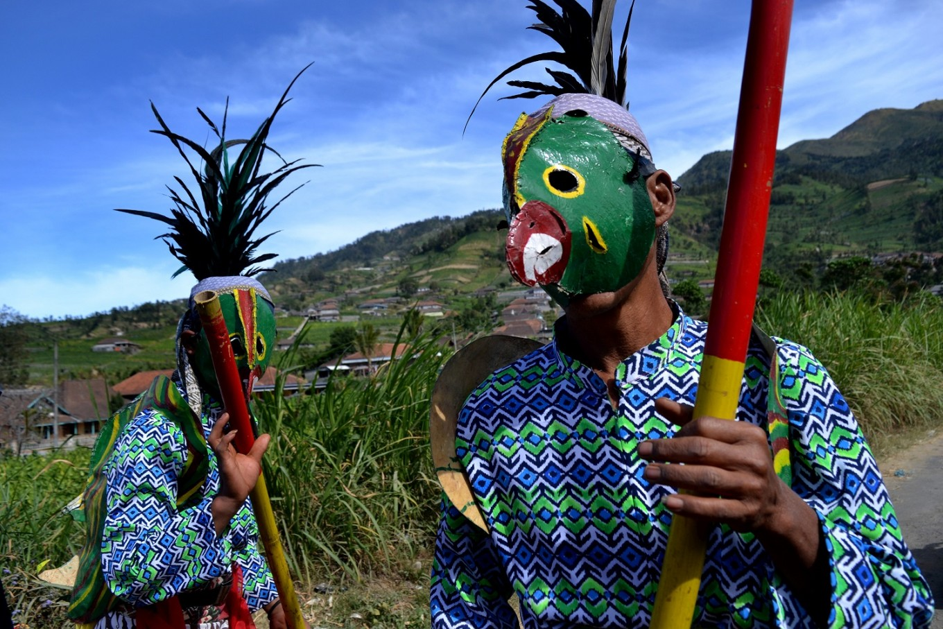 A mask dance performance during the Tungguk Tembakau Festival.
