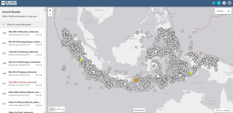 A screen capture of search results on the US Geological Survey website shows the Indonesian archipelago experienced at least 3,600 earthquakes of 5-magnitude and above between Jan. 1, 2005 and Aug. 7 this year.
