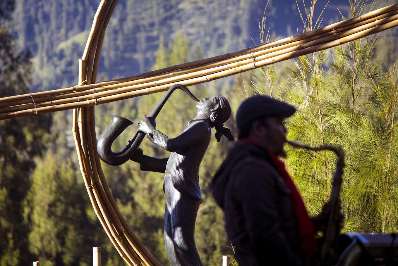 Fine art: A sculpture of Jazz Gunung by renowned artist Dolorosa Sinaga adorns the festival.