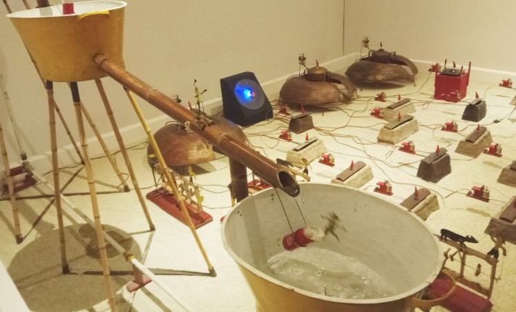 Heri Dono's 'Gamelan goro-goro' depicts a farmer's effort to water rice fields through irrigation system. It was made in 2001 as a response to multimedia use in post-reform era, and very much open to interpretation.