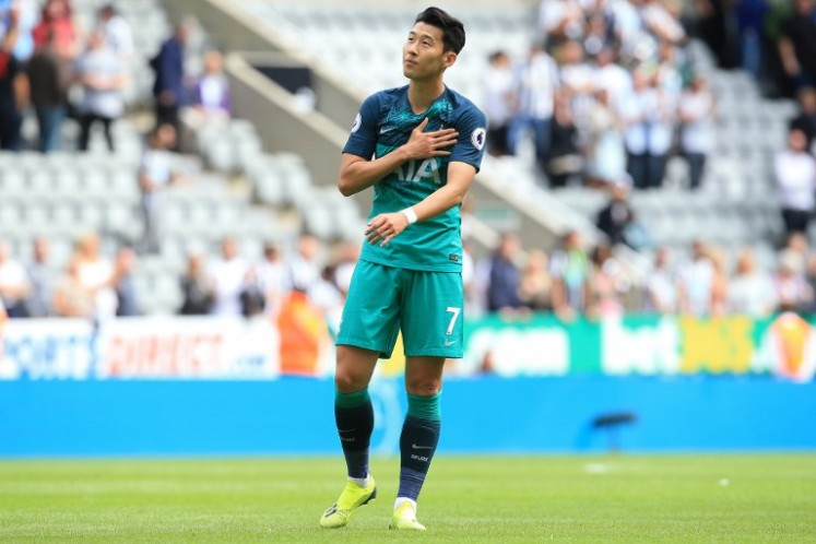 Tottenham Hotspur's South Korean striker Son Heung-Min reacts following the English Premier League football match between Newcastle United and Tottenham Hotspur at St James' Park in Newcastle-upon-Tyne, north east England on August 11, 2018. Tottenham won the match 2-1. Lindsey PARNABY / AFP