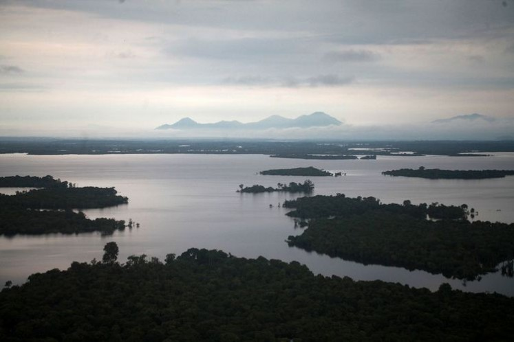 A view of Lake Sentarum National Park from the peak of Tekenang Hill in Selimbau district, Kapuas Hulu regency, West Kalimantan.