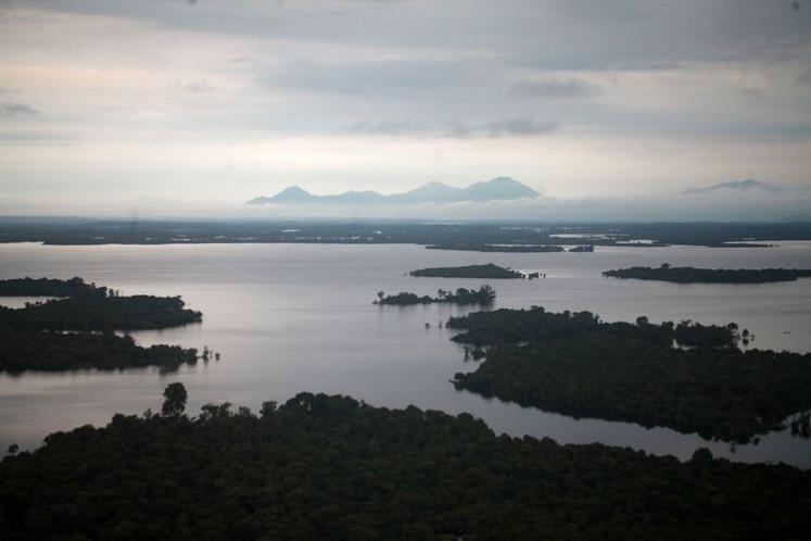 A view of Lake Sentarum National Park from the peak of Tekenang Hill in Selimbau district, Kapuas Hulu regency, West Kalimantan.