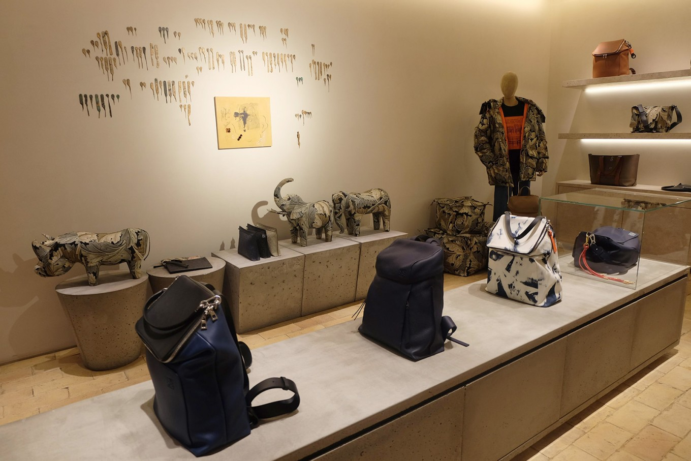 Products on displat at Loewe's flagship store in Madrid.