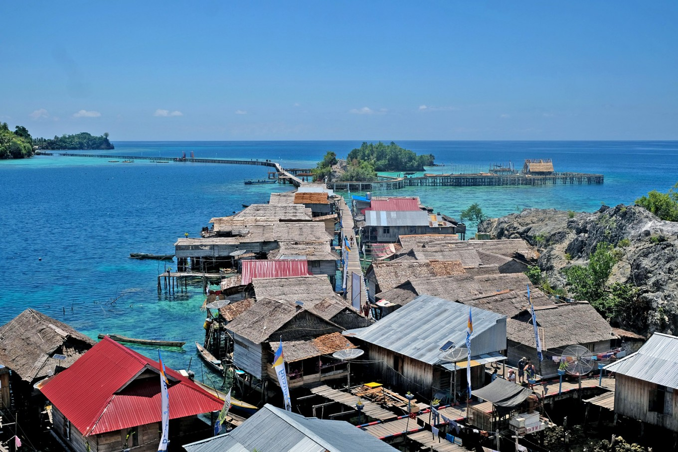 An aerial view of Bajo village, Papan Island.