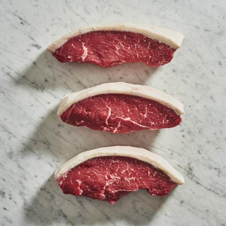 Applestone machines inventory like these culotte (sirloin cap) steaks.