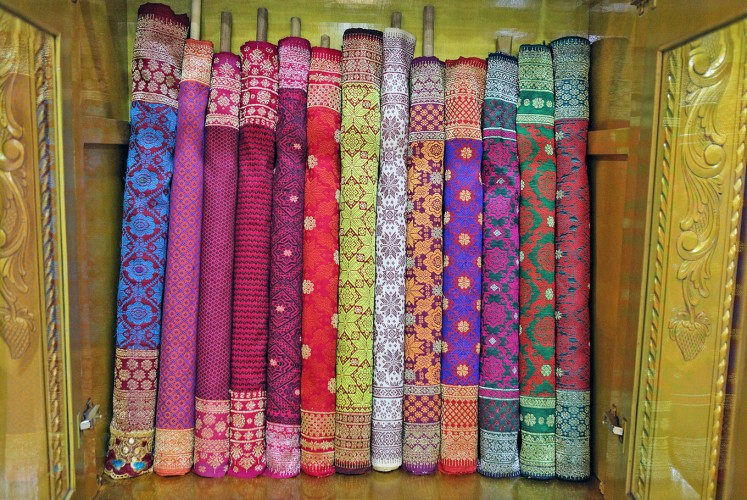 Bright colors: Palembang's traditional fabric, songket, is a must-have souvenir.