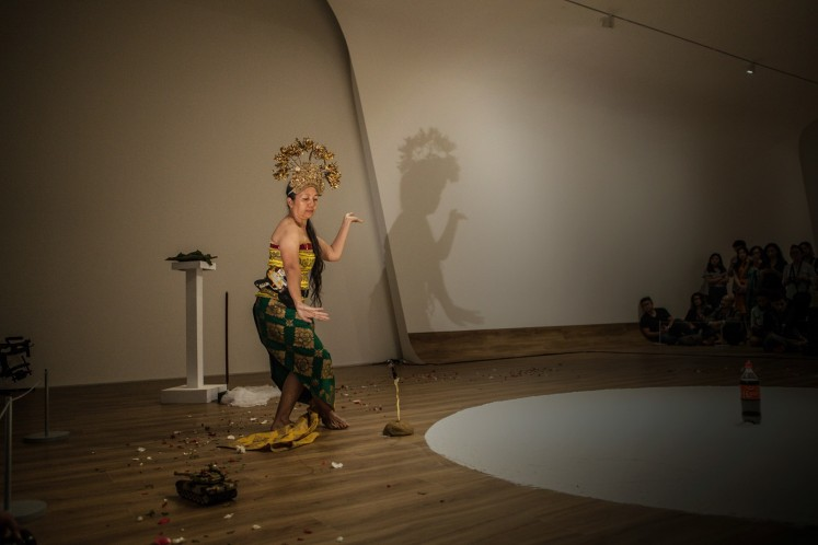 A 2017 performance of 'Handle Without Care' (1996-2017) at First Sight, Museum Macan, Jakarta.