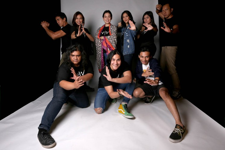 The Wiro Sableng cast and producer gear up for the movie release as actors Fariz Alfarazi (front row, left to right), Vino G. Bastian, Yusuf Mahardika, Dian Sidik (back row, left to right) and Ruth Marini as well as producer Sheila Timothy, Sherina Munaf, Gita Arifin and Teuku Rifnu Wikana pose for a photo.