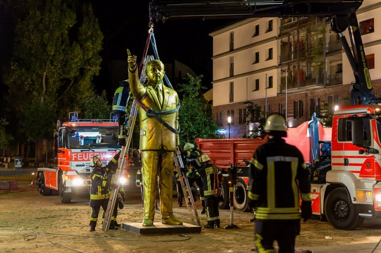 German city takes down golden Erdogan statue after outcry