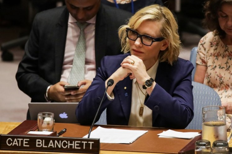 UNHCR Goodwill Ambassador Cate Blanchett listens during the United Nations Security Council on the situation in Myanmar at UN Headquarters in New York on August 28, 2018. 