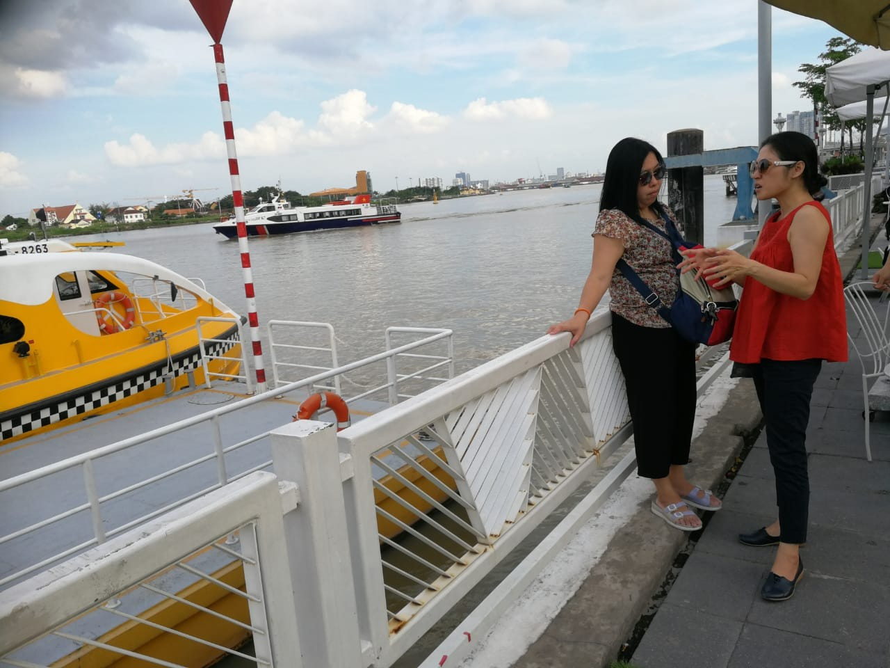 Tourists wait for the departure of the Saigon water bus at Bach Dang Station in Ho Chi Minh City, Vietnam, on Aug. 28.