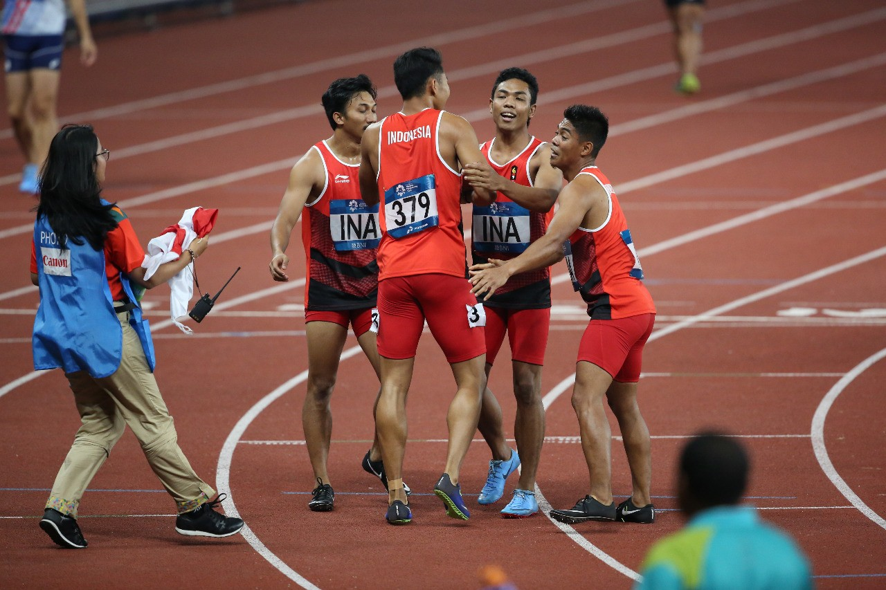Asian Games: Indonesia takes silver in men's 4x100 relay