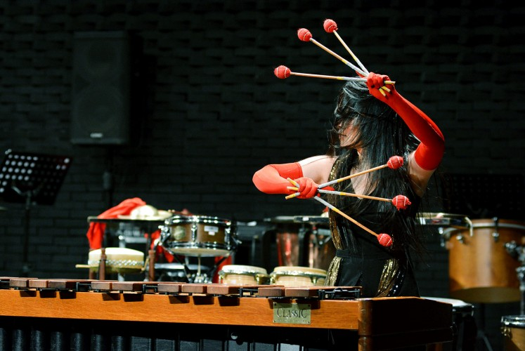 "Mallet percussion: Pei-Ching Wu plays the marimba using six mallets to perform the ""Solar Myth"" piece by Chang Chiung-Ying."