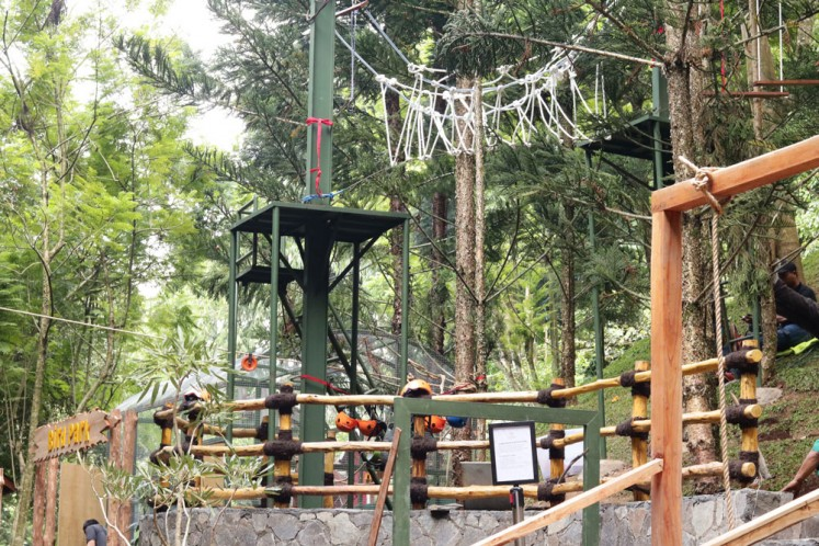 Full of adventure: The newly expanded Adventure Park playground at the Padma Hotel Bandung features many new facilities, including a labyrinth, rope-climbing installation, rabbit holes, pirate ships, wooden camping sites and bird nests for children to play in. Parents do not need to worry about their children's safety in the playground as the hotel's employees will constantly supervise them.
