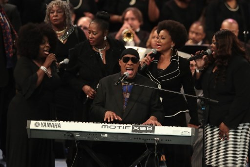 US singer/songwriter Stevie Wonder performs at Aretha Franklin's funeral at Greater Grace Temple on August 31, 2018 in Detroit, Michigan.
