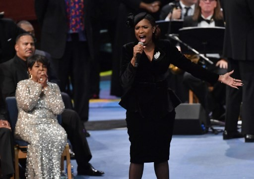 US singer Jennifer Hudson performs at Aretha Franklin's funeral at Greater Grace Temple on August 31, 2018 in Detroit, Michigan.