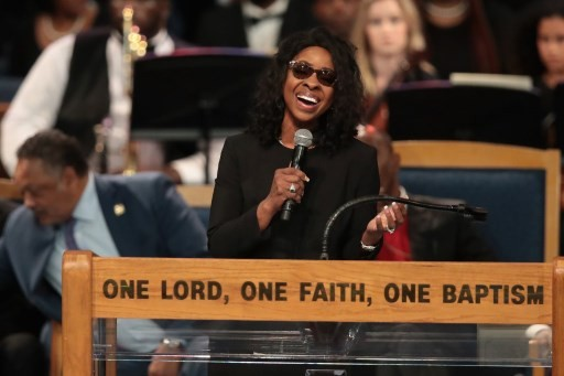 US singer/songwriter Gladys Knight performs at Aretha Franklin's funeral at Greater Grace Temple on August 31, 2018 in Detroit, Michigan.