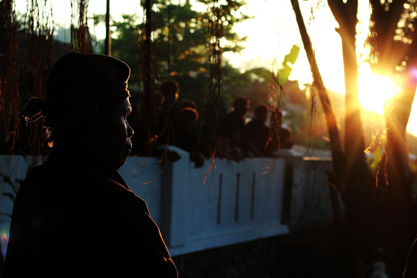 Early riser: Men of the Bonokeling tribal community get ready for the Day of Sacrifice early in the morning. JP/Kukuh Sukmana Hasan Surya