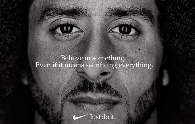 Former San Francisco quarterback Colin Kaepernick appears as a face of Nike Inc advertisement marking the 30th anniversary of its 'Just Do It' slogan in this image released by Nike in Beaverton, Oregon, U.S., September 4, 2018.