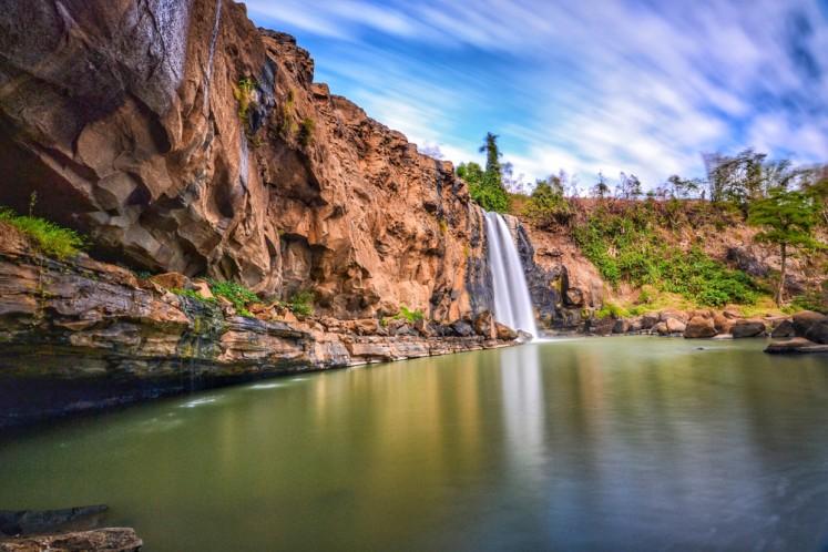 Awang waterfall in Ciletuh Geopark, West Java.