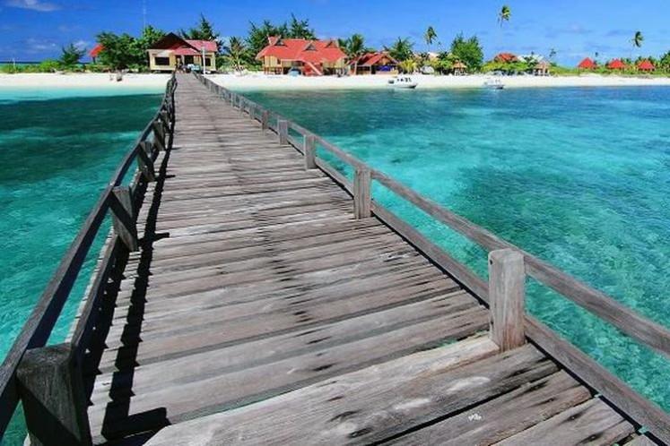 A bridge in Tinabo island, Taka Bonerate National Park, Selayar Islands, South Sulawesi