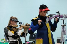 Khazakstan's, Alexandra Malinovskaya competes in the women's 10m rifle during the 2018 Asian Games in Palembang on August.20. JP/ Jerry Adiguna