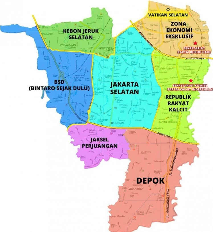 South Jakartan Hanung Baskoro makes a map to respond to the viral jokes.