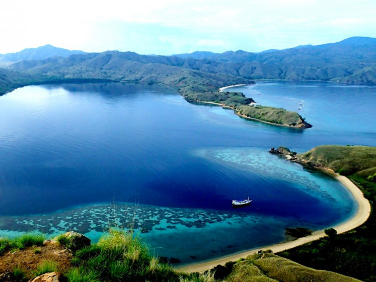 Deep blue: An aerial view of the Moyo Tambora lake in Sumbawa, West Nusa Tenggara.